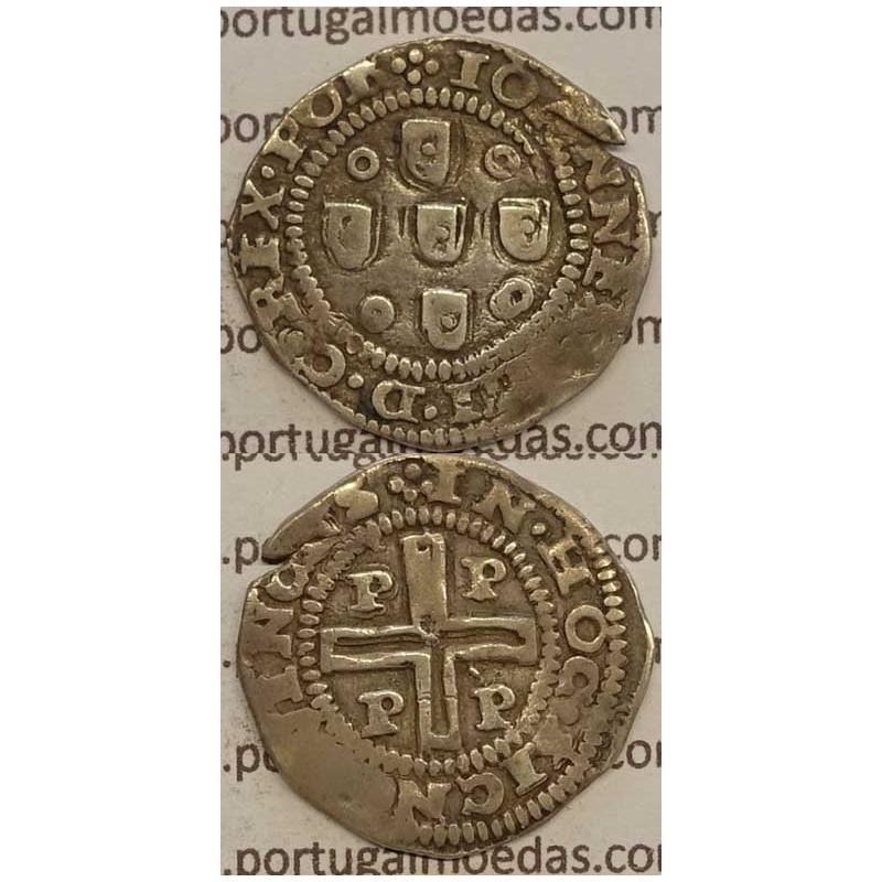 """MEIO TOSTÃO - PRATA 1640-1656 (MBC) PORTO """"PPPP"""" ....REX POR"""