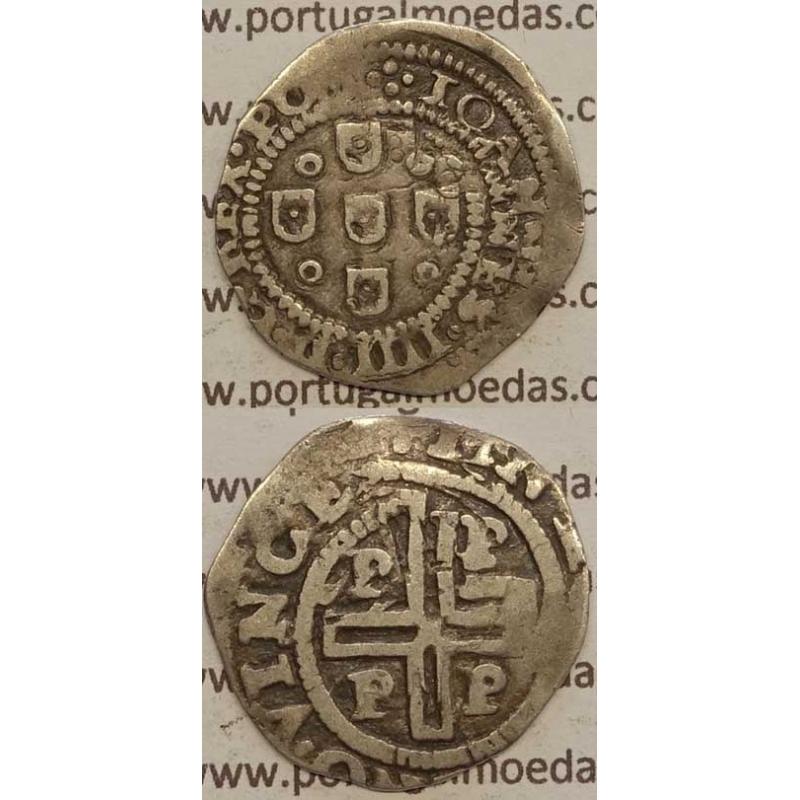 """MEIO TOSTÃO - PRATA 1640-1656 (MBC) PORTO """"PPPP"""" LETRAS MAIORES NO REVERSO"""