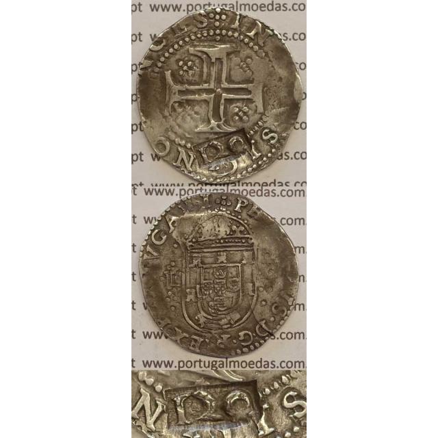 CARIMBO DE 120 REIS SOBRE TOSTÃO - PRATA 1640-1656) DE D.FILIPE II