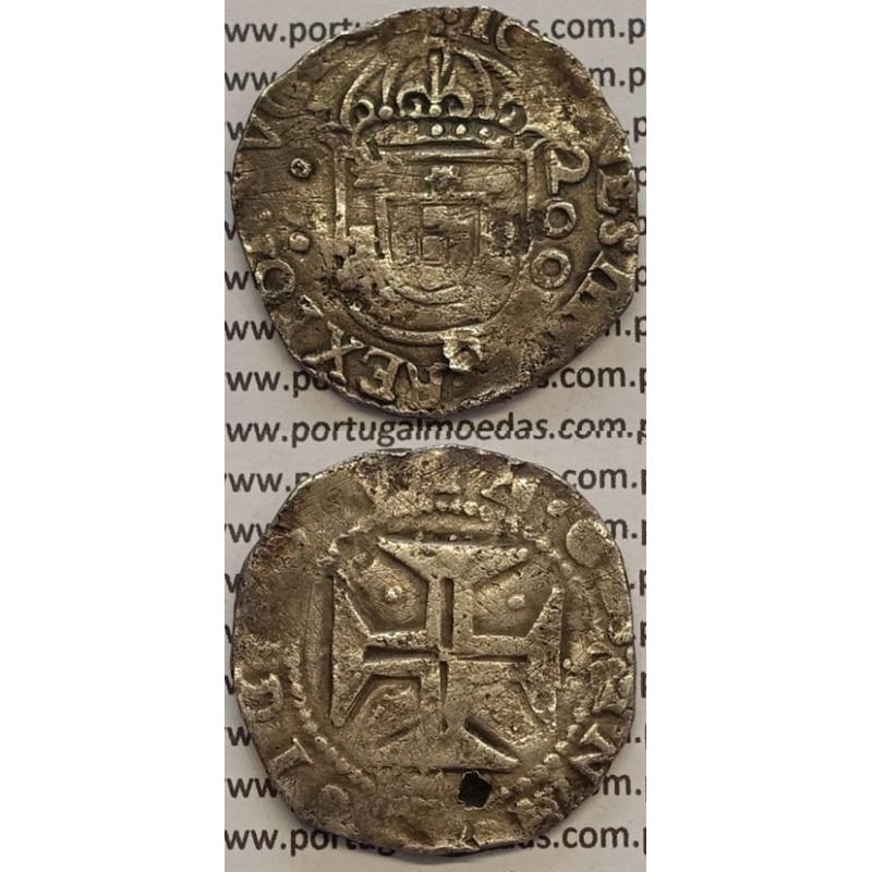 MOEDA MEIO CRUZADO PRATA 1640-1656 (BC) LISBOA - CRUZ CERCADA