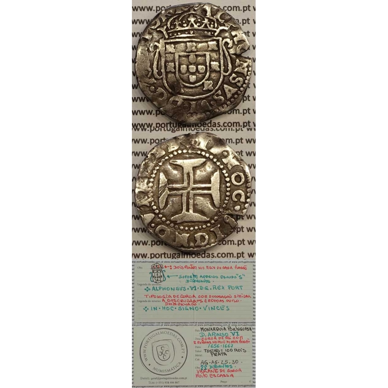 MOEDA TOSTÃO PRATA 1656-1667 (MBC) - D. AFONSO VI - VARIANTE COROA