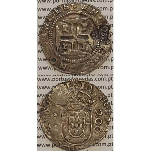 MOEDA C/ CARIMBO 250 RÉIS SOBRE MEIO CRUZADO PRATA 1656-1167 (MBC)
