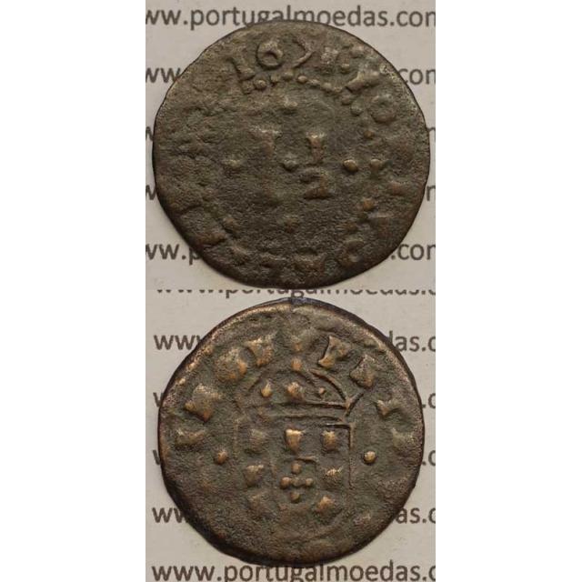 MOEDA DE REAL E MEIO COBRE 1675 - PETRVS.D.G.PRINCE / PORTVGALIAE.ET- D. PEDRO PRÍNCIPE REGENTE