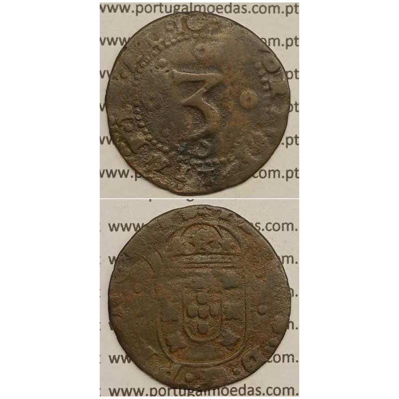 MOEDA DE 3 REIS - COBRE 1675 - PORTVGALIAE.ET.AL / ESCUDO LAD. POR 2 PONTOS - D. PEDRO PRÍNCIPE REGENTE