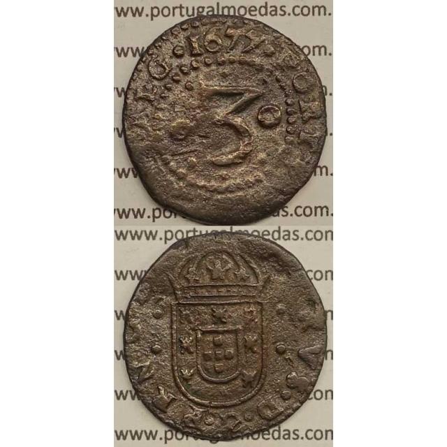 MOEDA DE 3 REIS - COBRE 1675 - PRNCEPS. / . LIAET.ALG- D. PEDRO PRÍNCIPE REGENTE