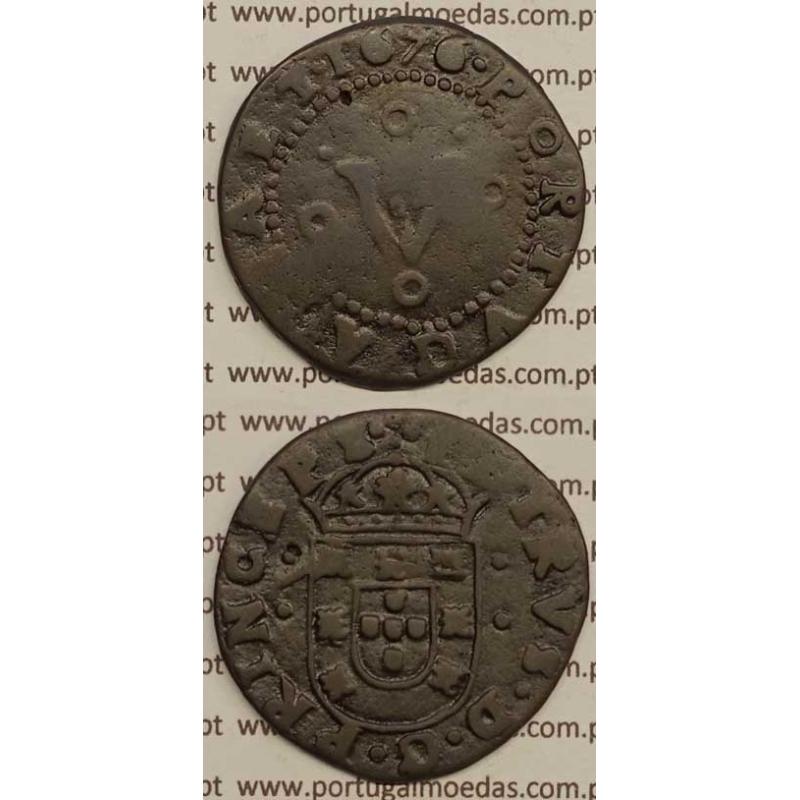 MOEDA DE V RÉIS - COBRE 1676 - PETRVS.D.G.PRINCEPS / PORTVGALIA.ET - D. PEDRO PRÍNCIPE REGENTE