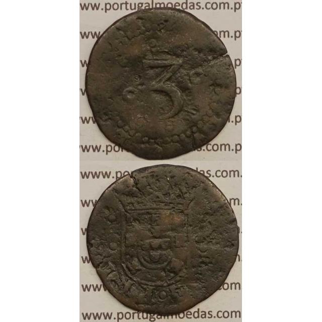MOEDA DE 3 REIS - COBRE 1667 a 1683 (REG) - D. PEDRO PRÍNCIPE REGENTE