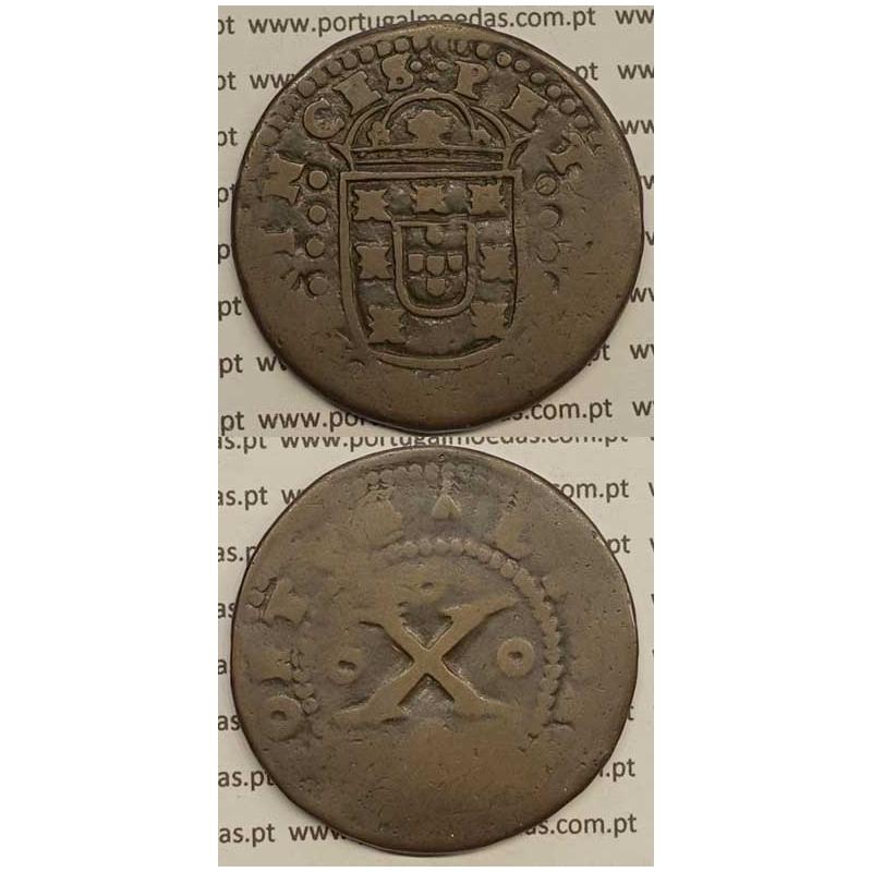 MOEDA DE X RÉIS - COBRE 1677 PETRVS.D.G.PRINCES / PORTVGALIA - D. PEDRO PRÍNCIPE REGENTE
