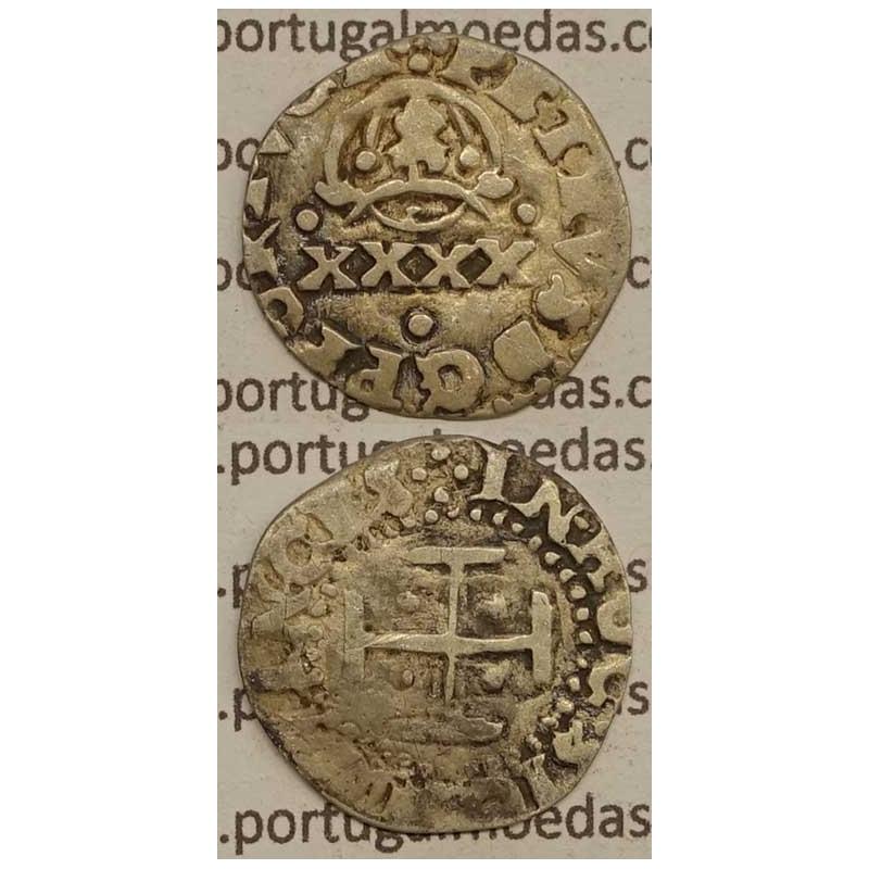 """MOEDA DE 2 VINTÉNS - PRATA 1667-1683 """"..PORTVGA"""" / CRUZ MAIOR 9,5mm"""" - D. PEDRO PRÍNCIPE REGENTE"""