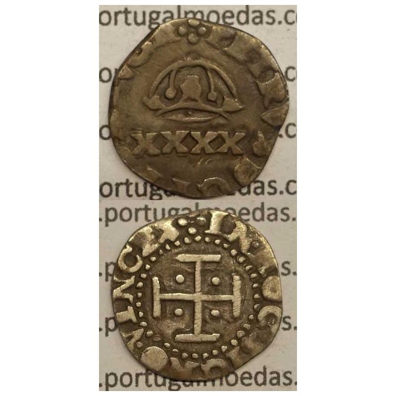 MOEDA DE 2 VINTÉNS - PRATA 1667-1683 - CAMPO LISO / ....PORTVGA - D. PEDRO PRÍNCIPE REGENTE