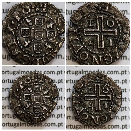 Meio Tostão prata 1641 de D. João IV, Inédito, no anverso pontos por baixo da Flor de Lis, ✤IOANNES IIII DG REX.PO, Muito Rara
