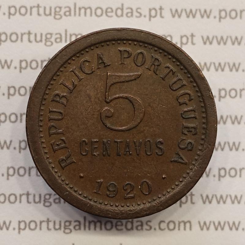 MOEDA DE CINCO CENTAVOS (5 CENTAVOS) BRONZE 1920 MBC+/BELA-