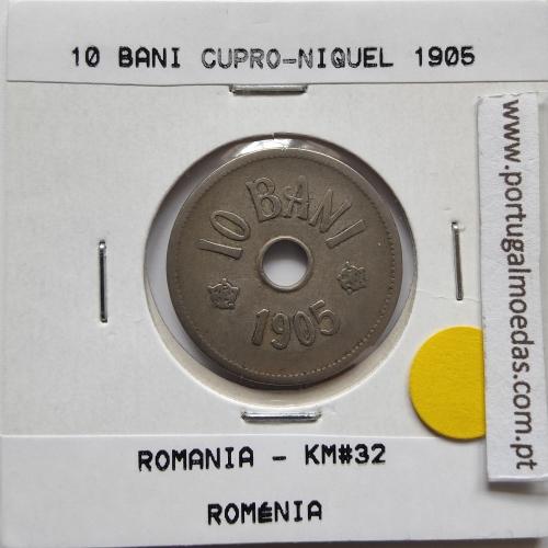 Roménia 10 Bani 1905 cuproníquel, World Coins Romania KM 32, coin of 10 bani 1905 Copper-nickel