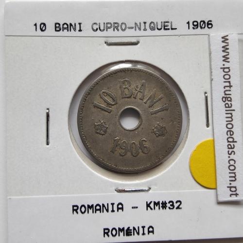 Roménia 10 Bani 1906 cuproníquel, World Coins Romania KM 32, coin of 10 bani 1906 Copper-nickel
