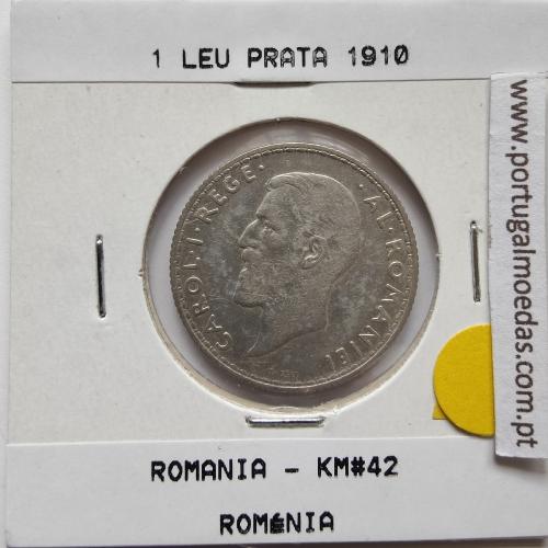 Roménia 1 Leu 1910 prata, World Coins Romania KM 42, coin of 1 leu 1910 Silver