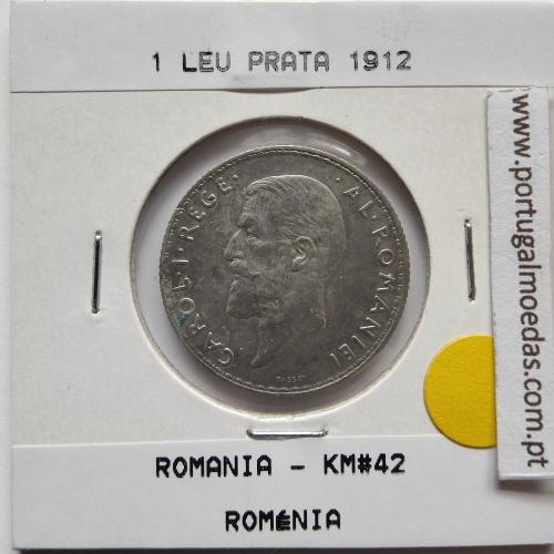 Roménia 1 Leu 1912 prata, World Coins Romania KM 42, coin of 1 leu 1912 Silver