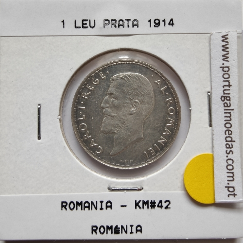 Roménia 1 Leu 1914 prata, World Coins Romania KM 42, coin of 1 leu 1914 Silver