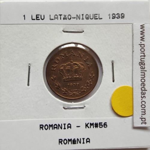 Roménia 1 Leu 1939 Latão-níquel, World Coins Romania KM 56, coin of 1 leu 1939 Nickel brass