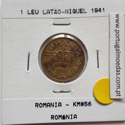 Roménia 1 Leu 1941 Latão-níquel, World Coins Romania KM 56, coin of 1 leu 1941 Nickel brass