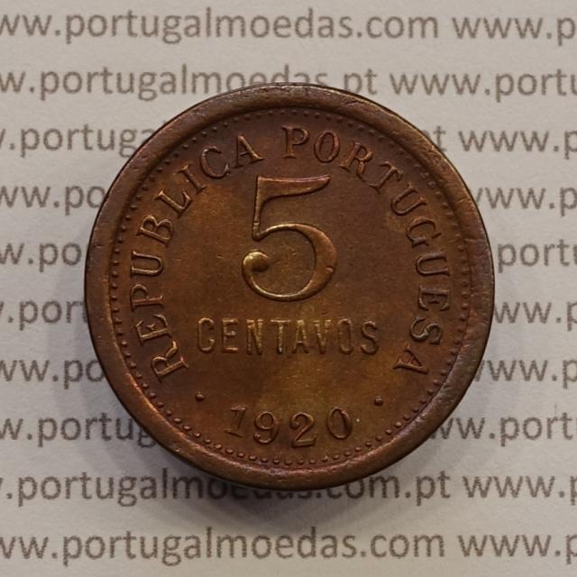 MOEDA DE CINCO CENTAVOS (5 CENTAVOS) BRONZE 1920 MBC