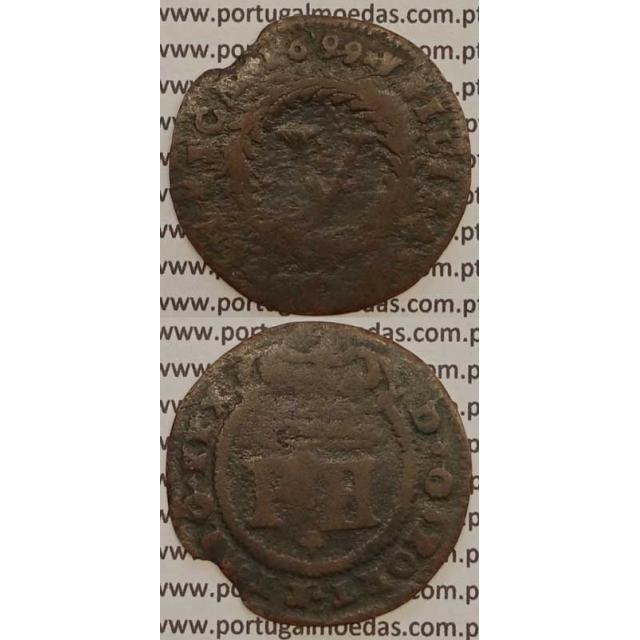 MOEDA V REIS COBRE 1699 (BC-/REG) - D.PEDRO II