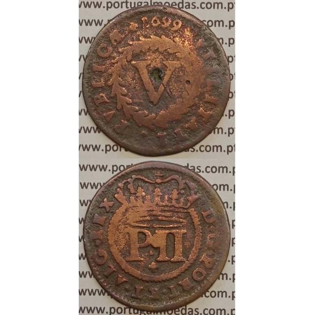 """MOEDA V REIS COBRE 1699 (BC) C/ MARCA (CARIMBO) """"+"""" CRUZ DE CRISTO - D.PEDRO II"""