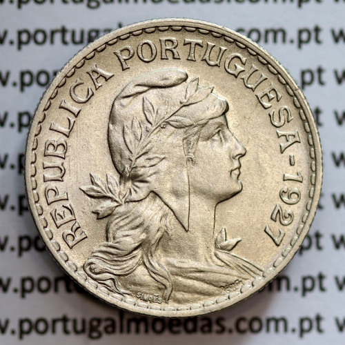 1 Escudo 1927 Alpaca, 1$00 1927 alpaca Republica Portuguesa, (Bela-), World Coins Portugal  KM 578
