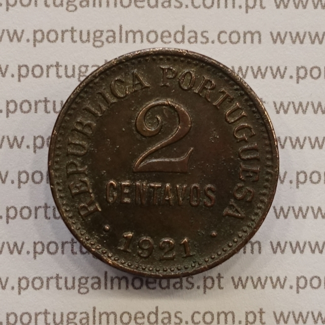 MOEDA DE DOIS CENTAVOS (2 CENTAVOS) BRONZE 1921 MBC