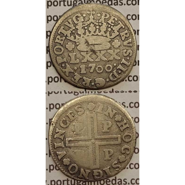MOEDA TOSTÃO PRATA 1700 (BC) - D. PEDRO II
