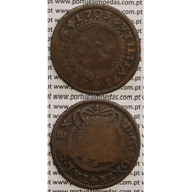 MOEDA X RÉIS COBRE 1703 (BC) GRINALDA INVERTIDA - D.PEDRO II