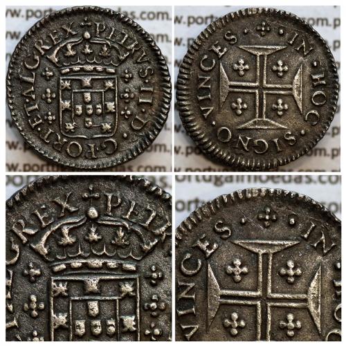 """3 vinténs Prata D. Pedro II 1683-1706, Coroa de Rei de 4 arcos Lisos """"não perolados"""", Variante não catalogada, World Coins KM138"""
