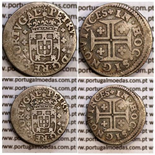 """Meio Tostão """"Coroa de Príncipe"""" Prata D. Pedro II 1683-1706, PETRVS•II•D•G•REX•PORTVGAL, World Coins KM135"""