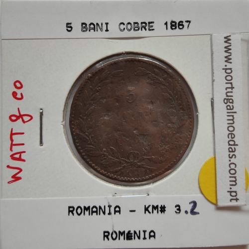 Roménia 5 Bani 1867 cobre, World Coins Romania KM 3, coin of 5 bani 1867 Copper
