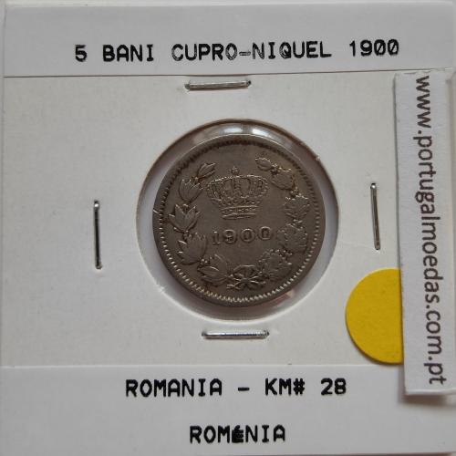 Roménia 5 Bani 1900 cuproníquel, World Coins Romania KM 28, coin of 5 bani 1900 Copper-nickel