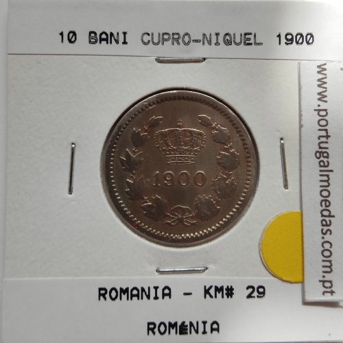 Roménia 10 Bani 1900 Cuproníquel, World Coins Romania KM 29, coin of 10 bani 1900 Copper-nickel