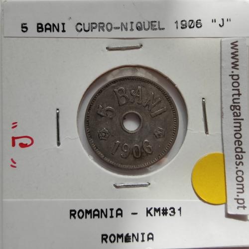 "Roménia 5 Bani 1906 ""J"" cuproníquel, World Coins Romania KM 31, coin of 5 bani 1906 Copper-nickel"