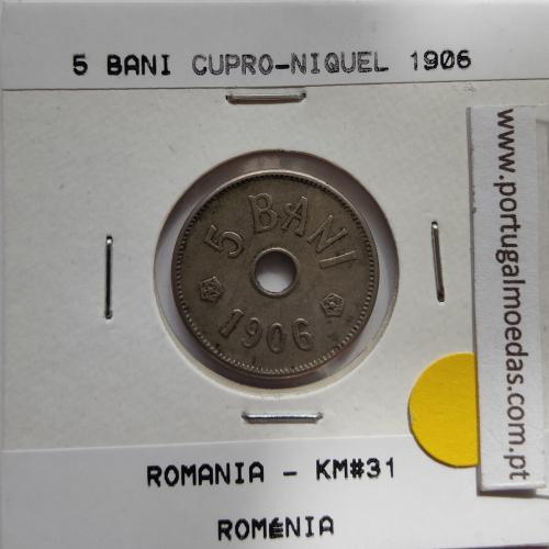 Roménia 5 Bani 1906 cuproníquel, World Coins Romania KM 31, coin of 5 bani 1906 Copper-nickel