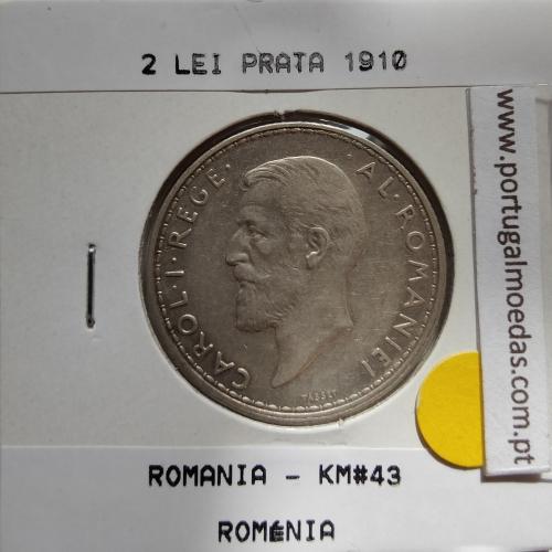 Roménia 2 Lei 1910 prata, World Coins Romania KM 43, coin of 2 lei 1910 Silver