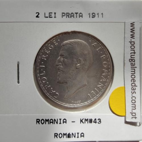 Roménia 2 Lei 1911 prata, World Coins Romania KM 43, coin of 2 lei 1911 Silver