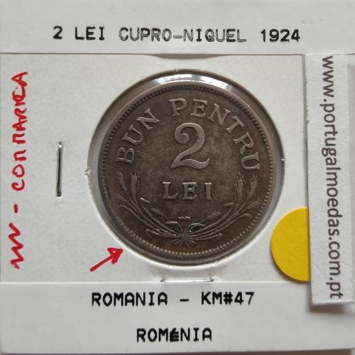 Roménia 2 Lei 1924 cuproníquel, World Coins Romania KM 47, coin of 2 lei 1924 Copper-nickel