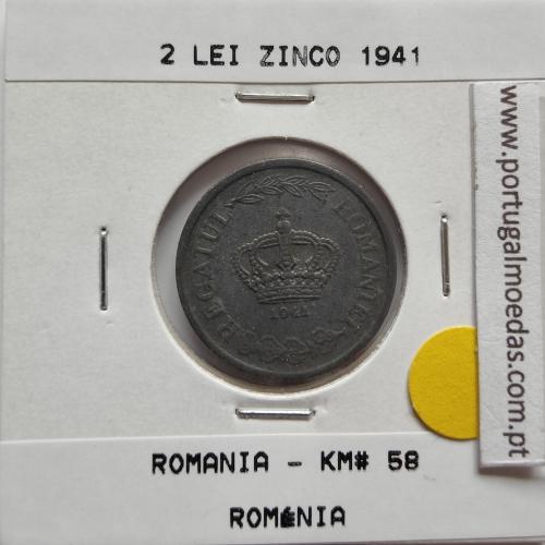 Roménia 2 Lei 1941 Zinco, World Coins Romania KM 58, coin of 2 lei 1941 zinc
