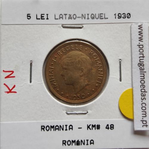 Roménia 5 Lei 1930 Latão-níquel, World Coins Romania KM 48, coin of 5 lei 1930 Nickel brass