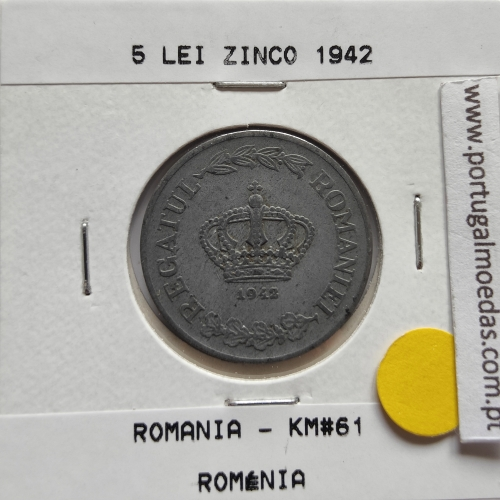 Roménia 5 Lei 1942 Zinco, World Coins Romania KM 61, coin of 5 lei 1942 zinc