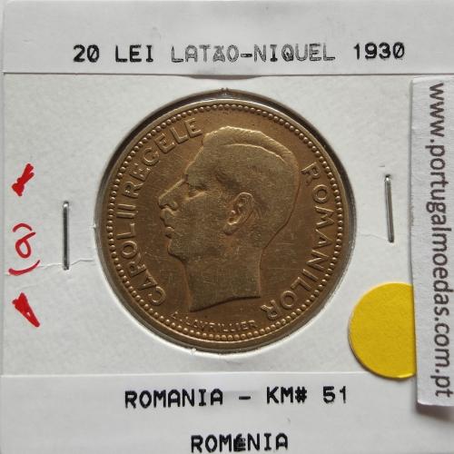 Roménia 20 Lei 1930 Latão-níquel, World Coins Romania KM 51, coin of 20 lei 1930 Nickel brass