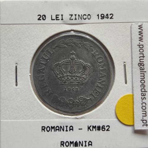 Roménia 20 Lei 1942 Zinco, World Coins Romania KM 62, coin of 20 lei 1942 zinc