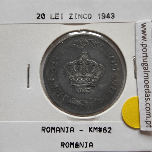 Roménia 20 Lei 1943 Zinco, World Coins Romania KM 62, coin of 20 lei 1943 zinc
