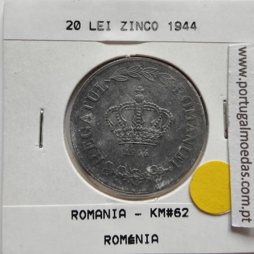 Roménia 20 Lei 1944 Zinco, World Coins Romania KM 62, coin of 20 lei 1944 zinc