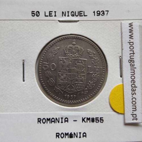 Roménia 50 Lei 1937 Níquel, World Coins Romania KM 55, coin of 50 lei 1937 Nickel