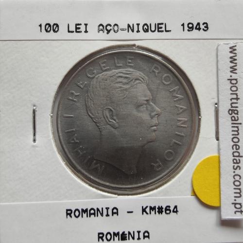 Roménia 100 Lei 1943 Aço- Níquel, World Coins Romania KM 64, coin of 100 lei 1943 Nickel plated iron