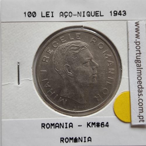 Roménia 100 Lei 1943 Aço-Níquel, World Coins Romania KM 64, coin of 100 lei 1943 Nickel plated iron